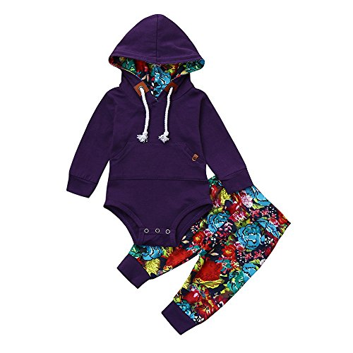 2Pcs Autumn Winter Clothes Set, Newborn Infant Baby Boy Girl Long Sleeve Floral Hooded Romper+Pants (Purple, 12-18 ()