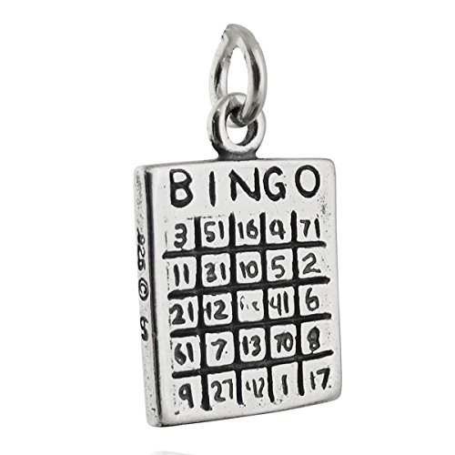 Silver Bingo Sterling (Bingo Card Charm - 925 Sterling Silver - Two-sided Game Night Numbers Jewelry Making Supply, Pendant, Charms, Bracelet, DIY Crafting by Wholesale Charms)