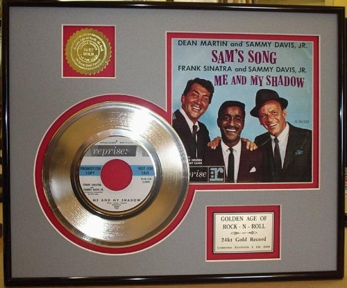 "Rat Pack ~ Dean Martin, Sammy Davis Jr, Frank Sinarta""Me And My Shadow"" Framed 24Kt Gold Record Rare Music Memorabilia from Gold Record Outlet"