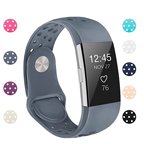 POY Replacement Bands Compatible for Fitbit Charge 2, Adjustable Breathable Wristbands with Air Holes Straps, Large Gray