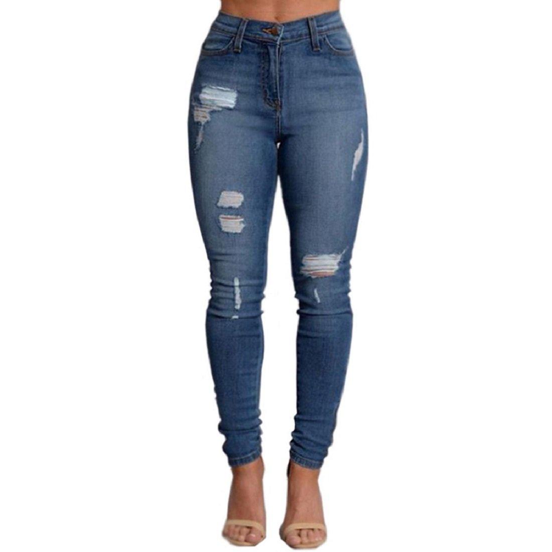 VICVIK Woman Knee Skinny Denim Distressed Ripped Boyfriend Jeans (L)