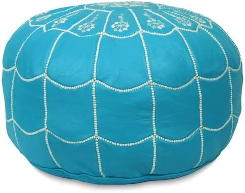 Mina Stuffed Moroccan Arch Design Leather Pouf Ottoman