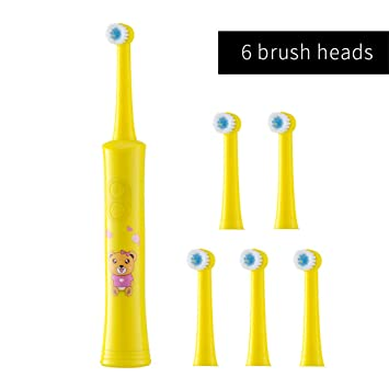 Amazon.com: Rotating Children Electric Toothbrush Tooth Brush Teeth Electric Toothbrush Rechargeable Hygiene Dental Care R01 R01 yellow 6heads: Beauty