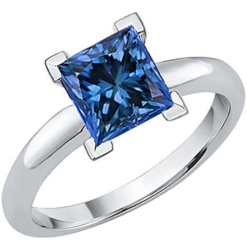 blue diamond ring princess cut - 4
