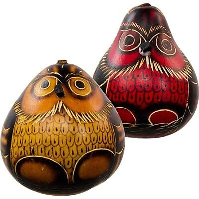 Gourd Shakers Owl Maracas Rattlers Hand Carved Peru Mix Colors Andes (Set of ()
