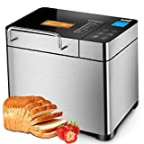 KBS Automatic 2LB Bread Maker Machine, Large LCD Display Touch with Nut Dispenser, Programmable 17 Menus 3 Crust Colors, 1 Hour Keep Warm 15 Hrs Delay Time, Gluten Free Whole Wheat, Stainless Steel