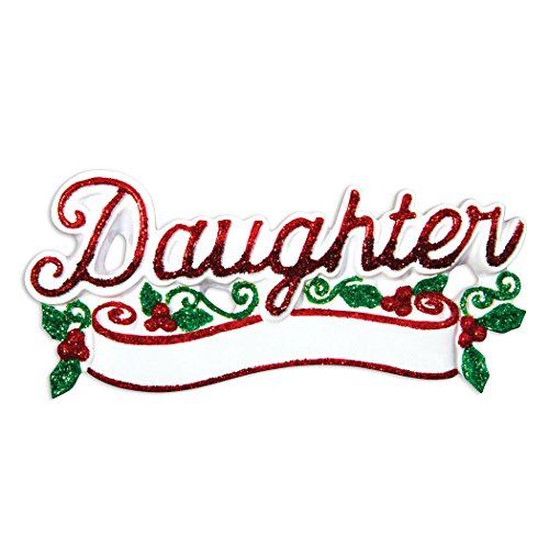 Personalized Daughter Christmas Tree Ornament 2019 - Glitter Word with Peppermint Berry Worlds Friend My Love Tradition Special Forever Memory Lettering Gift Year - Free Customization