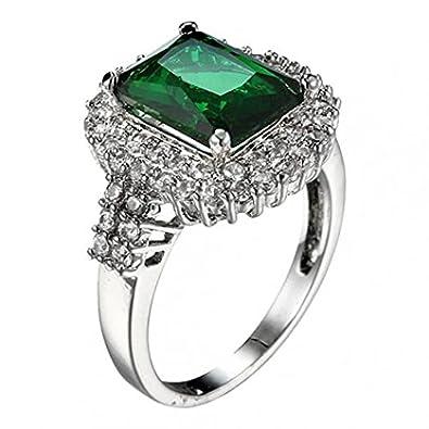 Femme Vert zircon Plaqué argent Bague Mode Mariage Bague Bijoux Cadeau Amesii