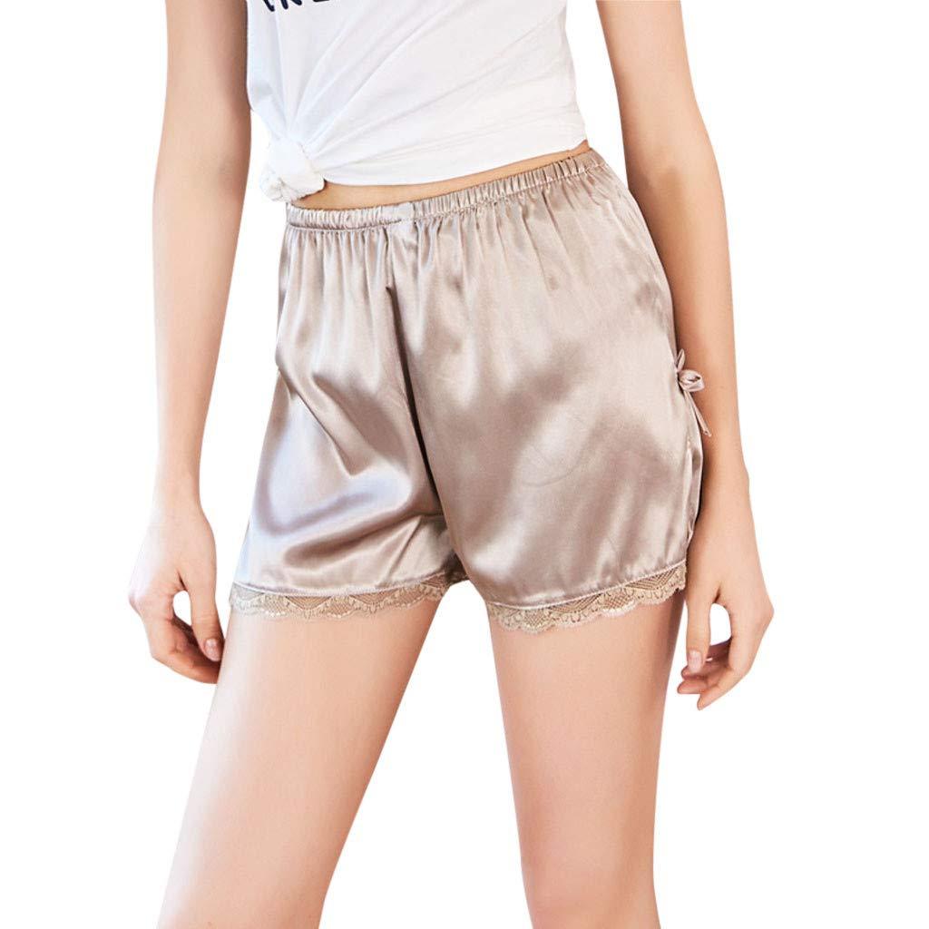 Psunrise Pijamas Women Sexy Lace Solid Color Soft Lingerie Underwear Babydoll Sleepwear Pants(M, Khaki)