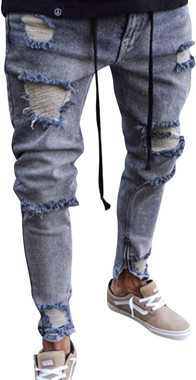 Wanyangg Pantalones Vaqueros Rotos Hombre Jeans Pantalon Vaquero Desgastados Elasticos Skinny Slim Fit Delgados Stretch Rajados Lavado Denim Pantalon De Mezclilla De Cintura Media Amazon Es Ropa Y Accesorios