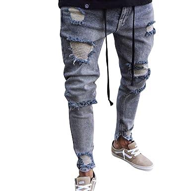 a38ebaef7fbc6 WanYangg Jeans Déchiré pour Homme, Hommes Effet Usé Slim Biker Zipper Genou  Troué Denim Pantalon Skinny Effiloché Distressed Ripped Délavé Pantalons ...