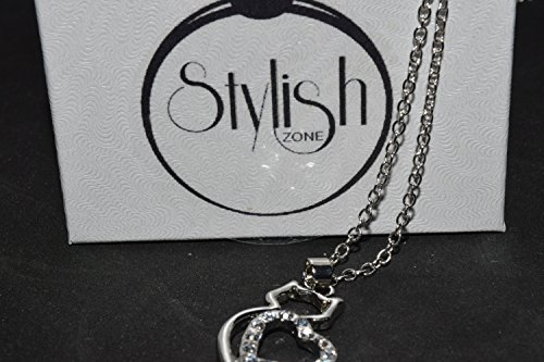 STYLISH ZONE-Silver-Rhinestone Cat Necklace-Heart-Necklace-with-Clear-Rhinestones-costume-fashion--heart-zirconia-necklace-jewelry-Perfect for Your (Fancy Shape Diamond Necklace)