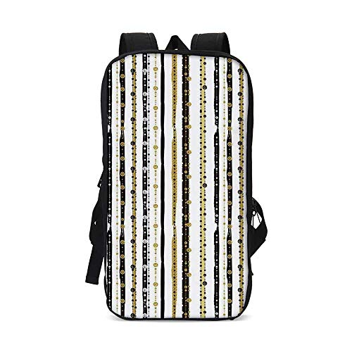 (Striped Stylish iPad Backpack,Vertical Lines with Round Circle Shapes Victorian Inspired Designed Art Print for School Office,9.8