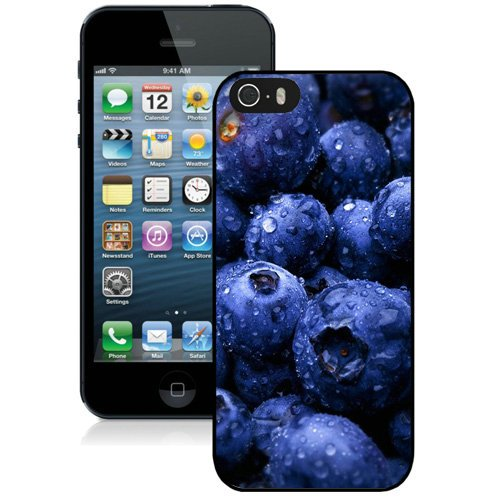 Coque,Fashion Coque iphone 5S Hd Blueberries Fruit Water Drops Noir Screen Cover Case Cover Fashion and Hot Sale Design
