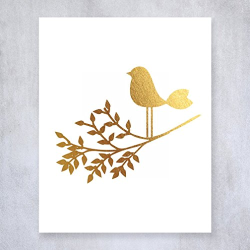 Bird on a Branch Gold Foil Art Print Baby Bird Decor Nursery Poster Girl's Room Modern Nature Decor 5 inches x 7 inches A30 (Inch Decals Wall Birds 5)