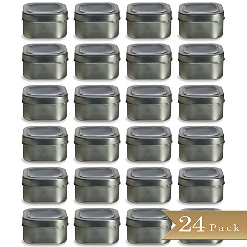 Deep Square Container (Set of 24 - TrueCraftware 4oz Square Deep Storage Container Tins with Clear Top Covers)