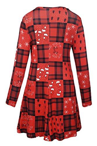 New Santa A Flared Christmas LaSuiveur Claus Dress Women's Pullover Line 5 Print HOn6vnR