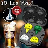Halloween Pumpkin Ice Cube Trays Mold Creative 3D Pumpkin Shape DIY Ice Cube mould Easy Release Flexible Silicone Mould with Lids Ice Maker for Whiskey,Cocktails,Juice Beverages,Chocolate,Biscuit