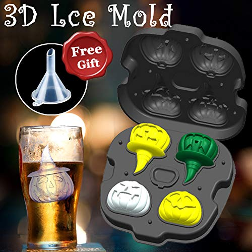 Halloween Decoration Clearance Ice Cube Trays Mold 3D Pumpkin Shape DIY Ice Cube Easy Release Flexible Silicone Mould with Lid Food Kitchen Ice Maker Whiskey Bourbon Cocktail Juice Beverages Chocolate