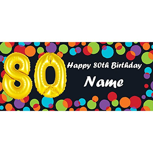 Balloon 80TH Birthday Customized Banner (Each) Customized by