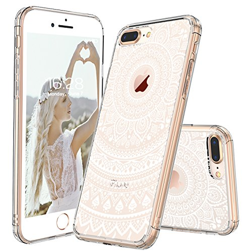 iPhone 8 Plus Case, Clear iPhone 8 Plus Case, MOSNOVO White Henna Mandala Floral Lace Printed Clear Design Plastic Back with TPU Bumper Protective Cover for iPhone 8 Plus (2017)