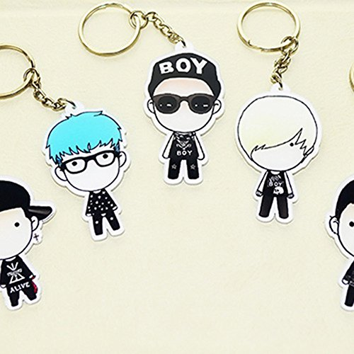AhlsenL Bigbang 5Pcs Cute Cartoon Keychain Set for Womens Bag or Cell Phone or Car Pendant (Cartoon Flashlight Keychain)