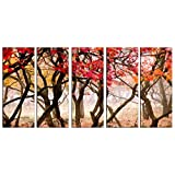 Nature On Canvas Prints Framed Huge Canvas Print 5 Panel Autumn Forest Painting Art On Giclee Canvas Print