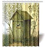 ADEDIY Fashion Custom Shower Curtain Outhouse Wooden House Waterproof Polyester Shower Curtain 60x72 Inch Bath Curtain Home Decor