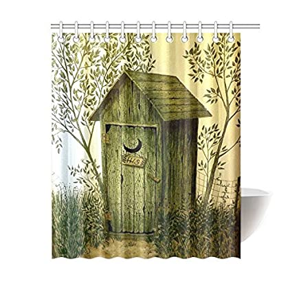 ADEDIY Fashion Custom Shower Curtain Outhouse Wooden House Waterproof Polyester 60x72 Inch Bath