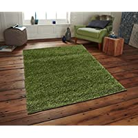 Adgo Chester Shaggy Collection Solid Vivid Color High Soft Pile Carpet Thick Plush Fluffy Furry Children Kids Bedroom Living Dining Room Shag Floor Rug, Olive Green, 5 x 7