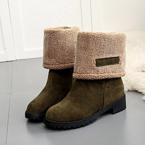 Elevin (tm) Mode Kvinnor Platt Fotled Vintern Varm Koreanska Snön Stövlar Skor Grönt