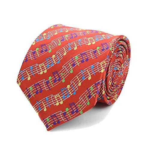 Men's Colorful Musical Music Notes Necktie Tie Neckwear (Red)