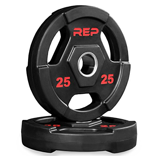 Rep Rubber Coated Olympic Plates - 25 lb Pair
