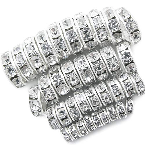 TOAOB 400pcs Silver Plated Crystal Rondelle Spacer Beads 4mm 6mm 8mm 10mm for Jewelry Making (Plated Bracelet Glass Silver)