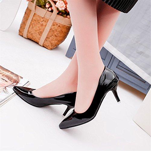 LIVY 2017 del párrafo del verano señaló los zapatos de la boca baja de los zapatos de las mujeres solteras 6cm finos con la tendencia de los zapatos de tacón alto Negro