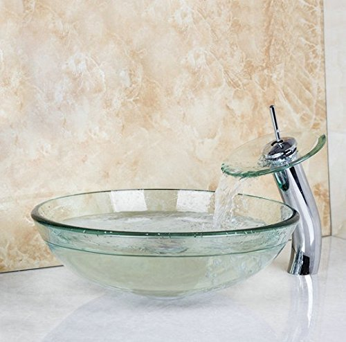 GOWE Transparent Glass Basin Sink Bathroom Countertop Washasin Vanity Vessel Bowl Bar with Brass Faucet Mixer Tap 0