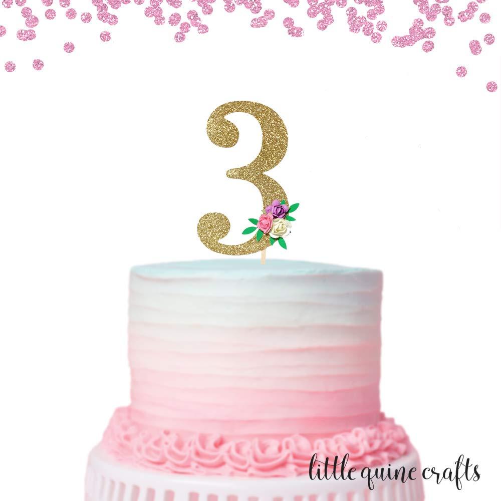 Stupendous Amazon Com 1 Pc Flowers Number 3 Three Cake Topper Gold Glitter Birthday Cards Printable Benkemecafe Filternl