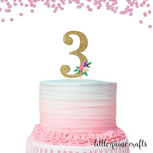 Terrific Amazon Com 1 Pc Flowers Number 3 Three Cake Topper Gold Glitter Personalised Birthday Cards Paralily Jamesorg