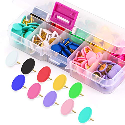 (Yalis Colors Thumb Tacks 300-count, Colors Plastic Roundness Push Pins Decorative Tacks for Corkboard, 10 Assorted Colors)