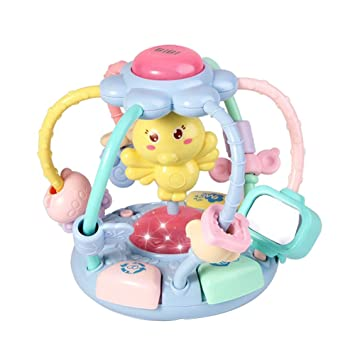 Baby & Toddler Toys Fashion Cute Cartoon Chick Baby Beads Grasping Ball Music Light Teether Rattles Toy