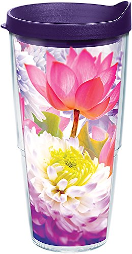 Tervis 1286285 Floral Filter Tumbler with Wrap and Royal Purple Lid 24oz, Clear (Floral Tervis Tumbler)
