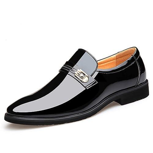 Los Hombres de Charol Zapatos Puntiagudos Zapatos de Cuero Brillante de Vestir Suave: Amazon.es: Zapatos y complementos