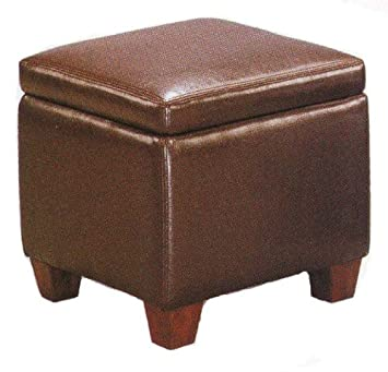 Coaster Home Furnishings Brown Faux Leather Storage Ottoman Foot Stool Hassock