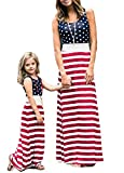 Gueuusu 4th of July Mommy and Me American Flag Striped Dot Patchwork Long Maxi Dress Beach Sleeveless Tank Dress (M, Mom)