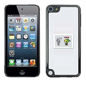 KLONGSHOP // Cubierta de piel con cierre a presión Shell trasero duro de goma Protección Caso - Lindo Comic - Apple iPod Touch 5 //