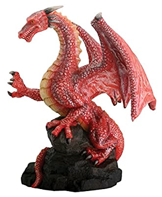 Red Dragon On Rock Fantasy Figurine