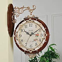 MGE UPS Systems Clock Wall Clock,Bilateral Wall Clock, Solid Wood Living Room Creative Deco Clock [Retro] Silent Quartz Clock (Color : C)