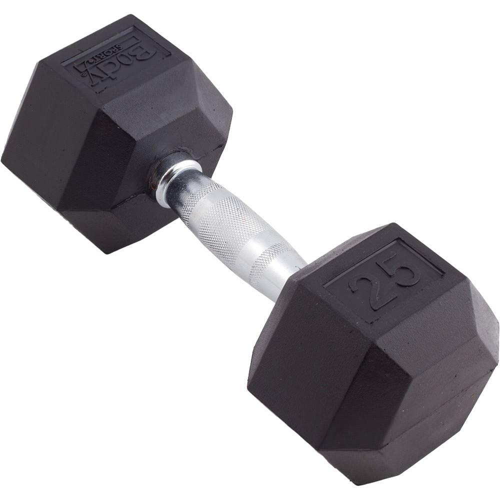 Body Sport Rubber Encased Hex Dumbbell, 25-Pound