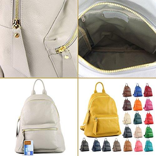 modamoda Ital cuir de Blassbraun sac en Damenrucksack T171A qZOzrq