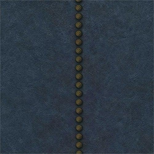 Wallpaper Designer Nail Head Stripe on Dark Navy Blue Faux Leather - Dark Blue Wallpaper